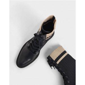 Charles & Keith针织拼接短靴