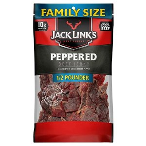Jack Link'sJack Link's Beef Jerky, Peppered, ½ Pounder Bag – Meat Snack with a Pepper Kick, 10g of Protein, 80 Calories - Made with 100% Premium Beef - 96% Fat Free, No Added MSG or Nitrates/Nitrites