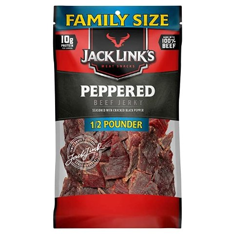 Jack Link's Beef Jerky, Peppered, ½ Pounder Bag – Meat Snack with a Pepper Kick, 10g of Protein, 80 Calories - Made with 100% Premium Beef - 96% Fat Free, No Added MSG or Nitrates/Nitrites