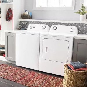 Amana AMWADREW1 Side-by-Side Washer & Dryer Set with Top Load Washer and Electric Dryer in White