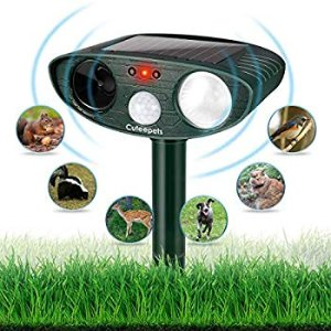 Humutan Ultrasonic Dog Repellent, Outdoor Solar Powered and Weatherproof Ultrasonic Pest Repeller, Cat Repellent with Motion Sensor and Flashing Lights for Cats, Dogs, Birds and Skunks and More : Gateway