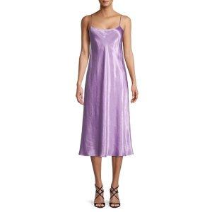 Vince香芋紫缎面连衣裙