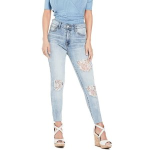 GuessCloverdale Lace-Inset Skinny Jeans at Guess