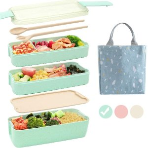Ozazuco 3层便当盒3色可选,配午餐袋