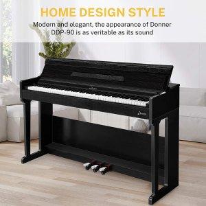 $637.49(原价$749.99)闪购:Donner DDP-90 88键电钢琴 有录音功能 支持耳机模式