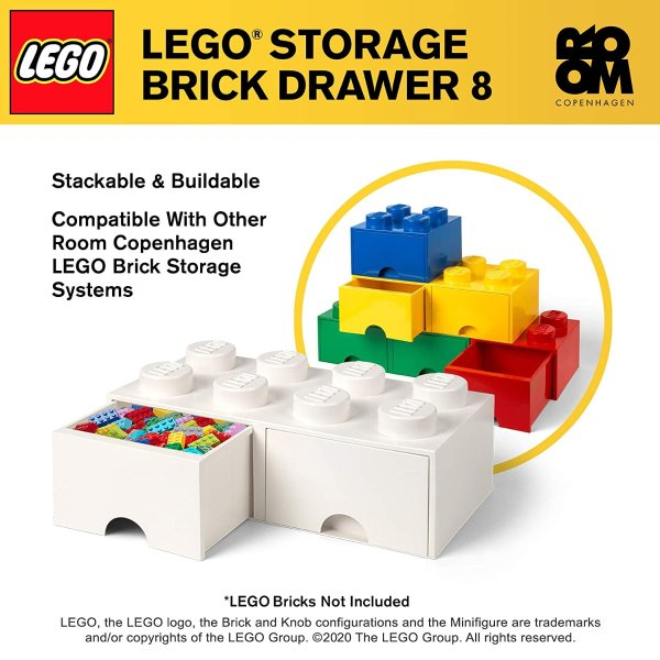 in Black LEGO Brick Drawer Stackable Storage with 4 Knobs