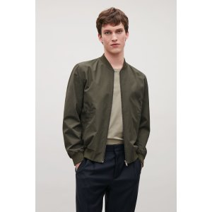 Zip-up jacket with rib details - Khaki Green