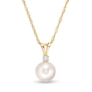 IMPERIAL® 7.5-8.0mm Cultured Akoya Pearl and Diamond Accent Pendant in 14K Gold|Zales