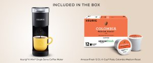 Amazon.com: Keurig K-Mini Single Serve Coffee Maker with AmazonFresh 12 Ct. Colombia Medium Roast K-Cup Coffee Pods, 6 to 12 oz Brew Size: Kitchen & Dining