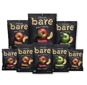 $16.95 Bare Natural Apple Chips, Fuji & Reds, Gluten Free + Baked, Multi Serve Bag - 3.4 Oz (Pack of 6)
