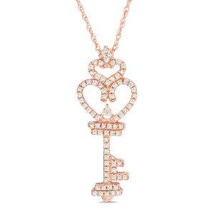 1/6 CT. T.W. Diamond Heart-Top Key Pendant in 10K Rose Gold|Zales
