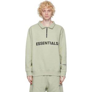 Essentials粉丝晒货同款不同色Green半拉链polo领毛衣