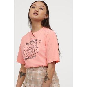 H&M淡粉色T恤