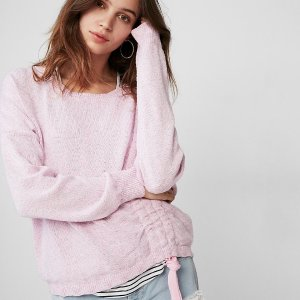 ExpressMarled Asymmetrical Ruched Pullover Sweater