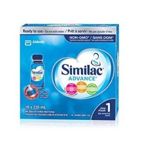 $37.98(原价$46.98)Similac Advance Step 1 不含转基因原料即开即饮配方液体配方奶