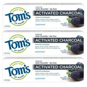 $10.66(原价$17.97)Tom's of Maine 活性炭薄荷味牙膏 3支
