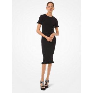 Michael KorsRibbed Stretch Viscose Ruffle Trim Pencil Skirt