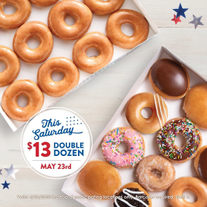 2 Dozen Doughnuts for $13Krispy Kreme Memorial Weekend Offer