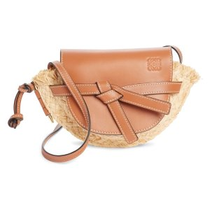 LoeweGate Mini Leather & Raffia Crossbody Bag