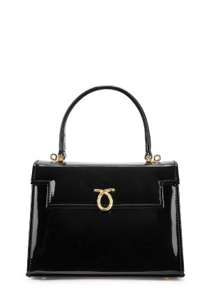 Launer Judi small black leather top handle bag - Harvey Nichols