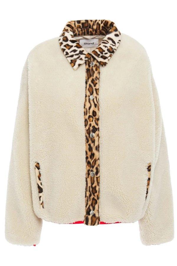 豹纹毛绒外套