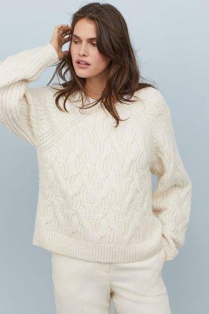 Cable-knit Sweater - Cream - Ladies | H&M US