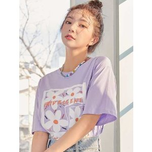 SHEINFloral & Letter Graphic Tee