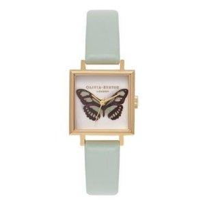 Olivia Burton薄荷色方形手表