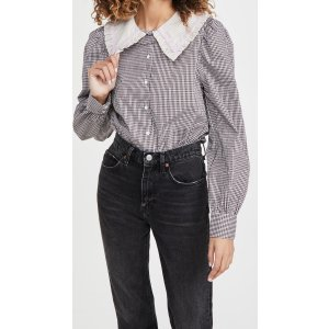English FactoryGingham Check Long Sleeve Blouse