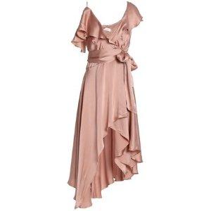 ea1fa7734c ZimmermannAsymmetric ruffled washed-silk wrap midi dress