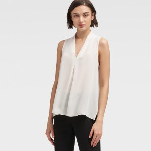 DKNYPLEATED-FRONT TANK TOP
