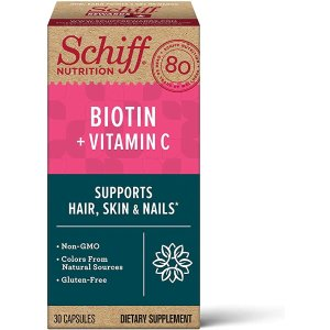 SchiffBiotin & Vitamin C Capsules, Schiff (30 count in a bottle), Gluten-Free & Non-GMO Supplement That Helps Support Hair, Skin & Nails, Supports Natural Collagen Production, Supports A Healthy Appearance٭