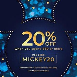 满£50享8折Disney官网 十月热促 超可爱公仔、行李箱、水杯、卡通卫衣都有