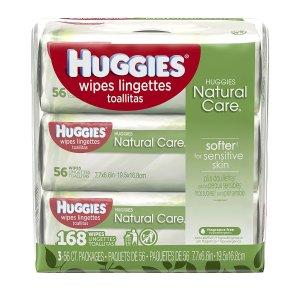 $7.1Huggies Natural Care 无香型婴儿湿巾 168张