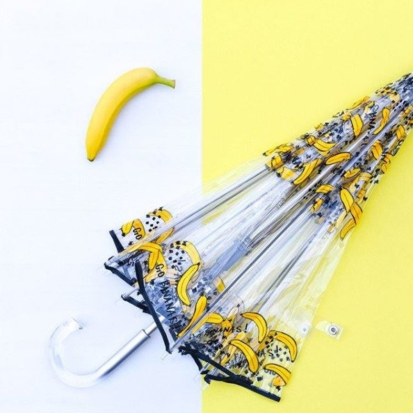 香蕉图案泡泡透明雨伞