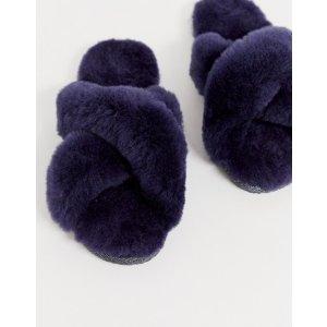 交叉款紫色拖鞋