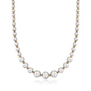 Ross-Simons18K金纯银串珠项链