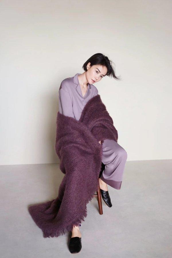 王菲同款 柔润拼接Pajamas风睡衣