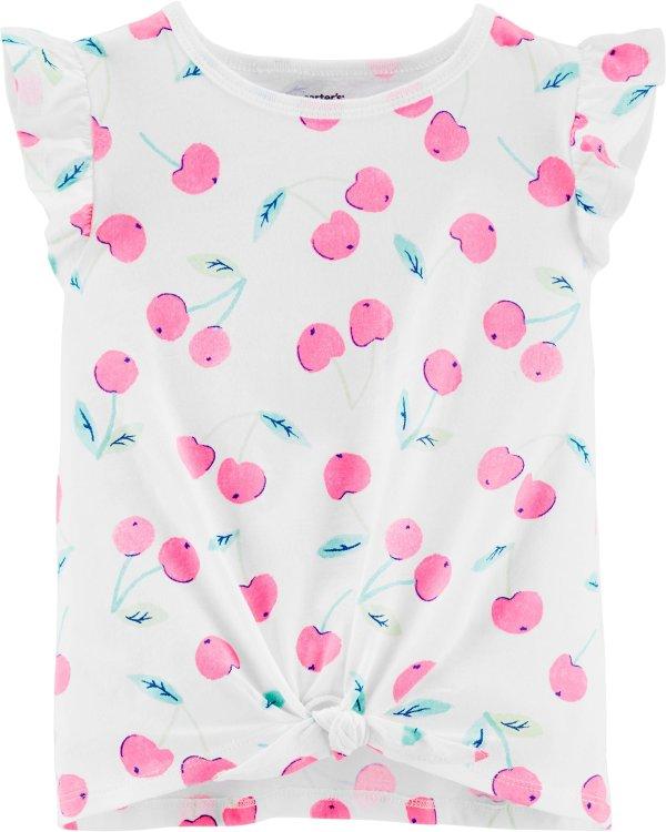 婴儿樱桃飞袖系结T恤