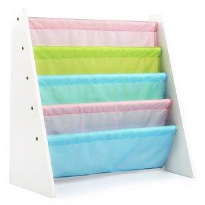 Tot TutorsKids Book Rack Storage Bookshelf, White/Pastel (Pastel Collection)