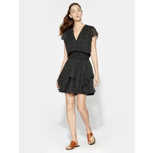 HalstonPrinted Ruched Waist Flounce Dress