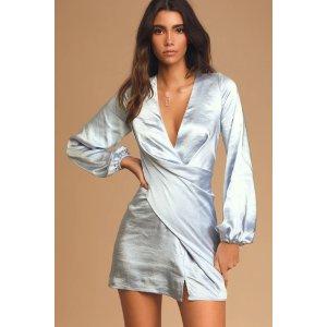 LULUSAs Always Light Blue Satin Balloon Sleeve Mini Dress