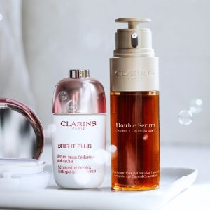 送豪华7件套Clarins官网 护肤热促 收新款光芒小瓷瓶、双萃精华