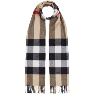 Burberry羊绒格纹围巾
