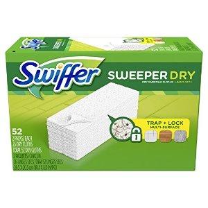 Sweeper干拖布52片$7.17Swiffer 多款拖头补充装大促,Wetjet 20片免洗湿片$8.37