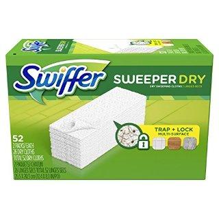 $7.17包邮Swiffer Sweeper 干拖布补充装 52块