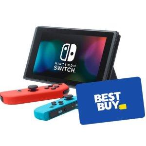 $299 再送$25礼卡Nintendo Switch 红蓝 / 灰色 32GB 标准版主机