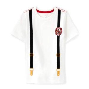 Gymboree100% 棉针织刺绣徽章背带T恤