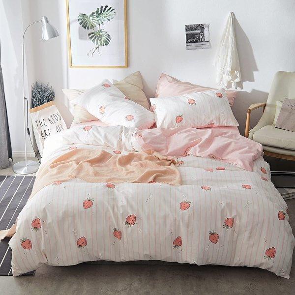 AOJIM 纯棉被罩床品3件套 Full/Queen 可爱草莓