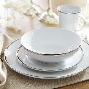 Grace Platinum Trim White Dinnerware